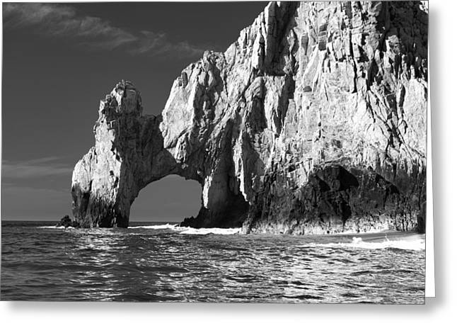 Sky Lovers Art Greeting Cards - The Arch Cabo San Lucas in Black and White Greeting Card by Sebastian Musial