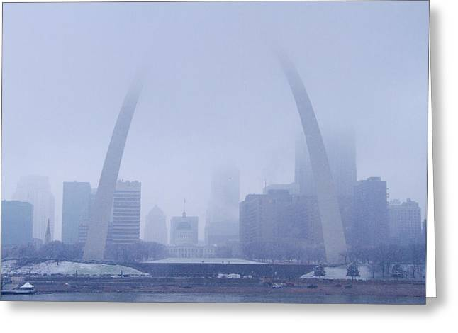 Jefferson National Expansion Memorial Greeting Cards - The Arch in Snow and Fog Greeting Card by Garry McMichael