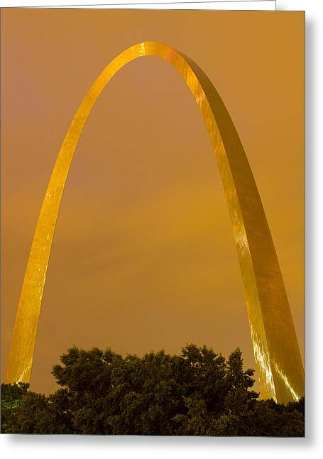 St Louis Missouri Greeting Cards - The Arch in the glow of St Louis city lights at night Greeting Card by Garry McMichael