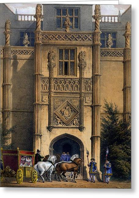 Medieval Entrance Drawings Greeting Cards - The Arch, Montacute House, Somerset Greeting Card by Joseph Nash