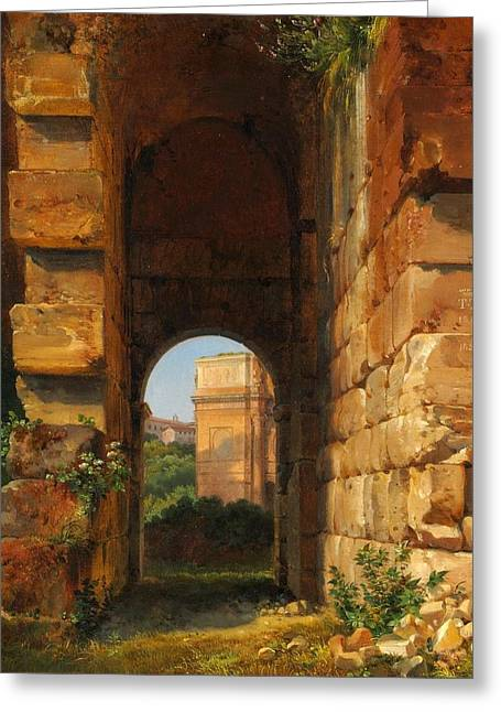 Lancelot Greeting Cards - The Arch of Constantine Seen from the Colosseum Greeting Card by Celestial Images