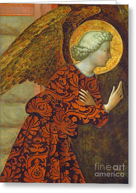 Christian Paintings Greeting Cards - The Archangel Gabriel Greeting Card by Tommaso Masolino da Panicale