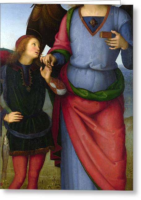 Archangel Greeting Cards - The Archangel Raphael with Tobias Greeting Card by  Pietro Perugino