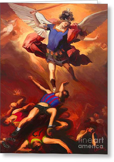 Archangel Digital Art Greeting Cards - The Archangel Smites The Footballers Greeting Card by Charles De Villeneuve