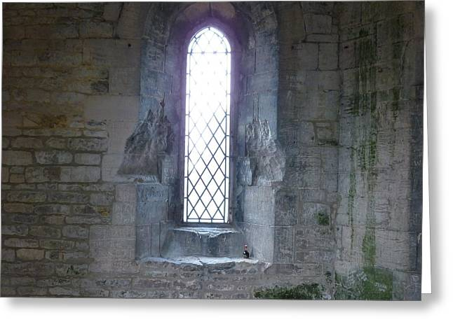 Medieval Temple Greeting Cards - The Arched Window Greeting Card by Kaye Miller-Dewing