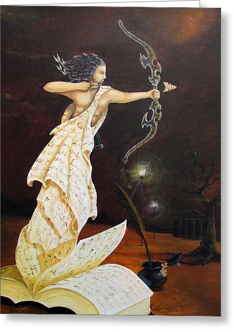 Self-knowledge Paintings Greeting Cards - The Archer Greeting Card by Kevin Escobar