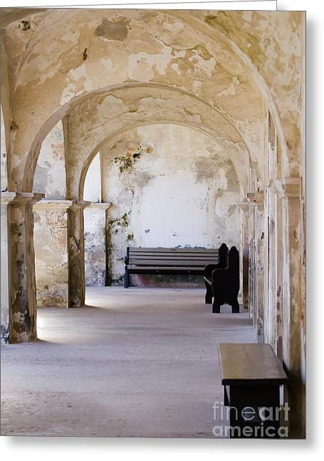 Prints From San Juan Greeting Cards - The Arches of El Morro Greeting Card by Mary Lou Chmura