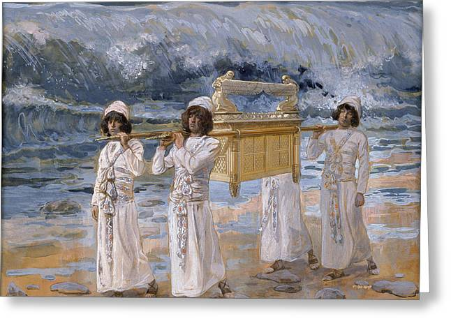 Jordan Greeting Cards - The Ark Passes Over the Jordan Greeting Card by James Jacques Joseph Tissot