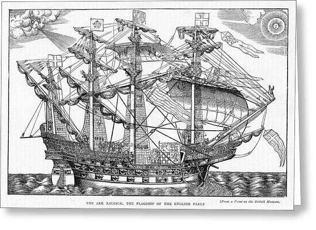 Seascape Drawings Greeting Cards - The Ark Raleigh the Flagship of the English Fleet from Leisure Hour Greeting Card by English School