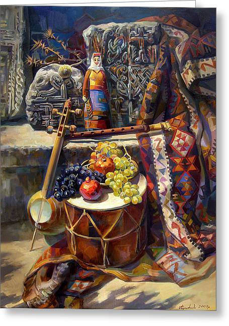 Pa Paintings Greeting Cards - The Armenian still-life with a armenian doll Greeting Card by Meruzhan Khachatryan