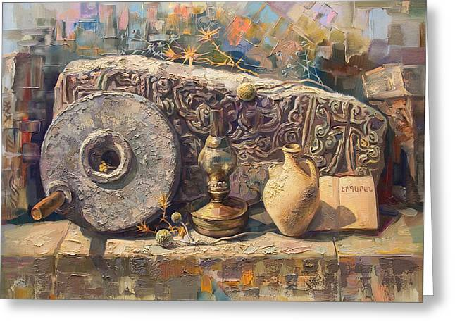 Armenia Greeting Cards - The Armenian still-life with a fragment cross - stone  Armenian khachqar Greeting Card by Meruzhan Khachatryan