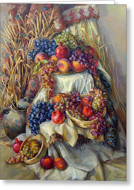 Still Life With Fruits Greeting Cards - The Armenian still life with a grapes and pomegranates Greeting Card by Meruzhan Khachatryan