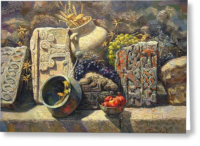 National Paintings Greeting Cards - The Armenian still life with cross  stone khachkar Greeting Card by Meruzhan Khachatryan