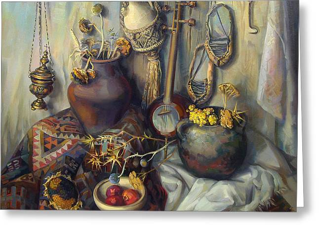 Armenian Greeting Cards - The Armenian still-life with culture subjects Greeting Card by Meruzhan Khachatryan
