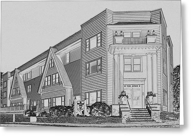 Winthrop Greeting Cards - The Arms in B and W Pencil Greeting Card by Caroline Stella