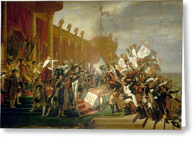 Oath Greeting Cards - The Army takes an Oath to the Emperor after the Distribution of Eagles Greeting Card by Jacques-Louis David