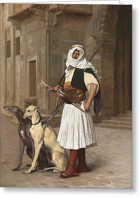 Gerome Greeting Cards - The Arnaut with two Whippets Greeting Card by Jean-Leon Gerome