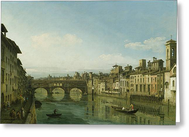 Florentine Greeting Cards - The Arno In Florence With The Ponte Greeting Card by Bernardo Bellotto