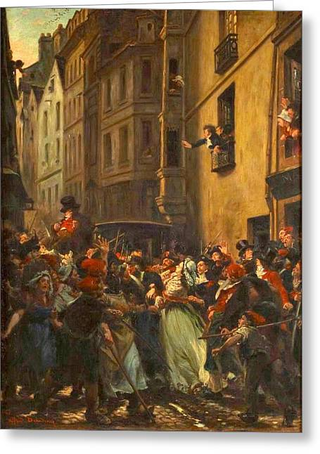 Charlotte Greeting Cards - The arrest of Charlotte Corday after the murder of Marat Greeting Card by Celestial Images
