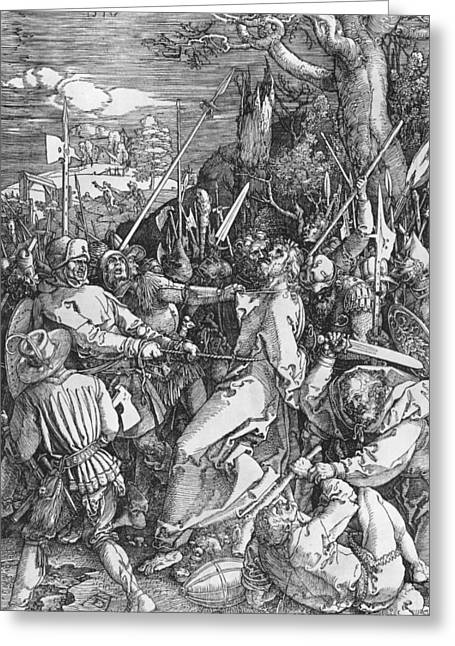 White Drawings Greeting Cards - The Arrest of Jesus Christ Greeting Card by Albrecht Durer or Duerer