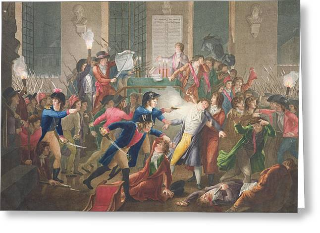 Assassination Greeting Cards - The Arrest Of Robespierre, The Night Of The 9th To 10th Thermidor, Year Ii, 27th July 1794 Coloured Greeting Card by Jean Joseph Francois Tassaert
