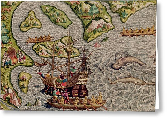 Canoe Photographs Greeting Cards - The Arrival And Disembarkation On The American Coast, From Americae Tertia Pars..., 1592 Coloured Greeting Card by Theodore de Bry