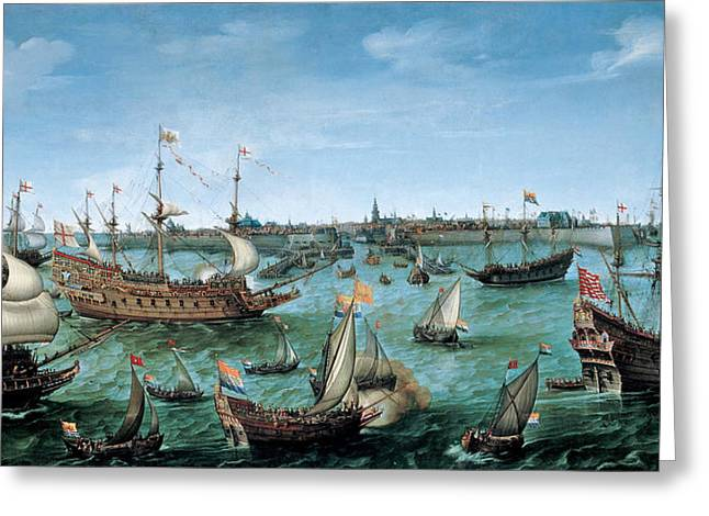 The Arrival At Vlissingen Of The Elector Palatinate Frederick V Greeting Card by Hendrik Cornelisz Vroom