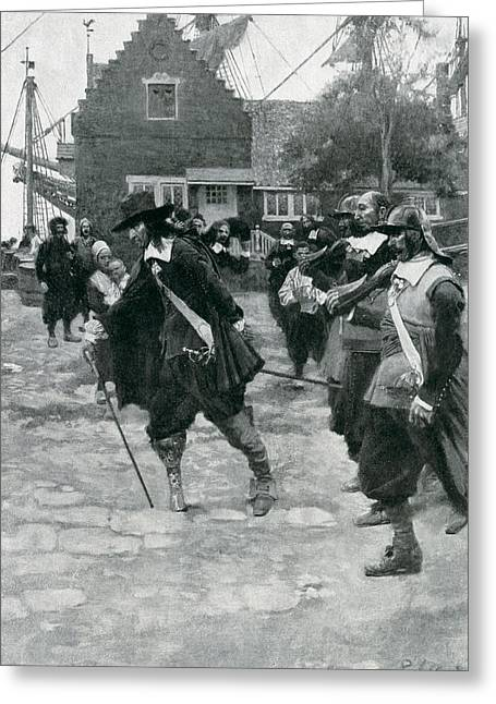 The Arrival Of Stuyvesant In New Amsterdam, Illustration From Colonies And Nation By Woodrow Greeting Card by Howard Pyle