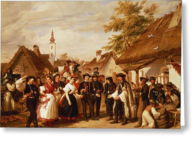 Hungarian Greeting Cards - The Arrival Of The Bride, 1856 Greeting Card by Miklos Barabas