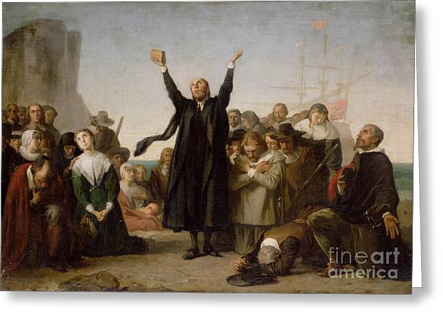 Knelt Paintings Greeting Cards - The Arrival of the Pilgrim Fathers Greeting Card by Antonio Gisbert
