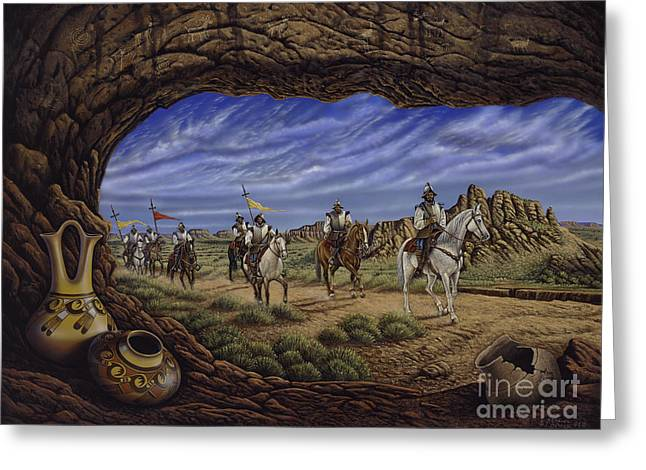 Native America Greeting Cards - The Arrival Greeting Card by Ricardo Chavez-Mendez