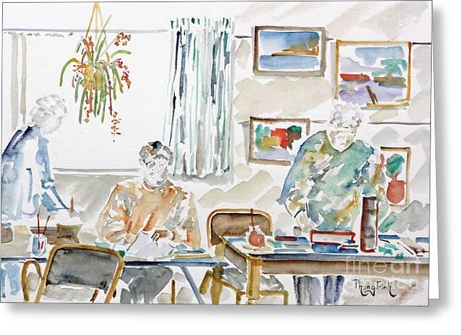 The Art Club Greeting Card by Phong Trinh