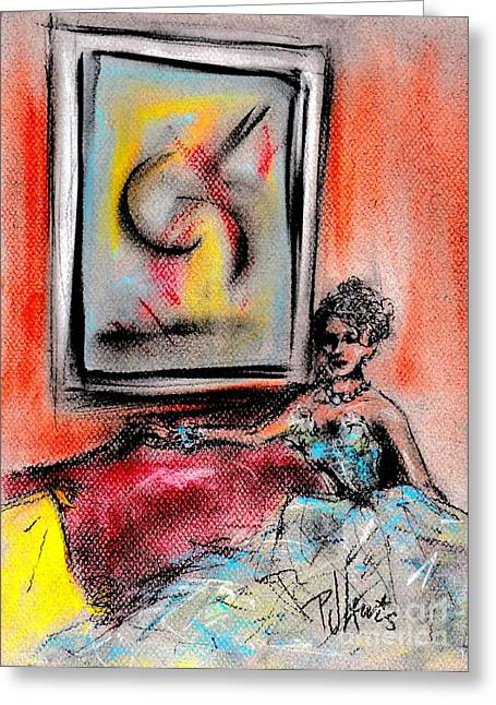 Sophisticated Woman Greeting Cards - The Art Collector Greeting Card by P J Lewis