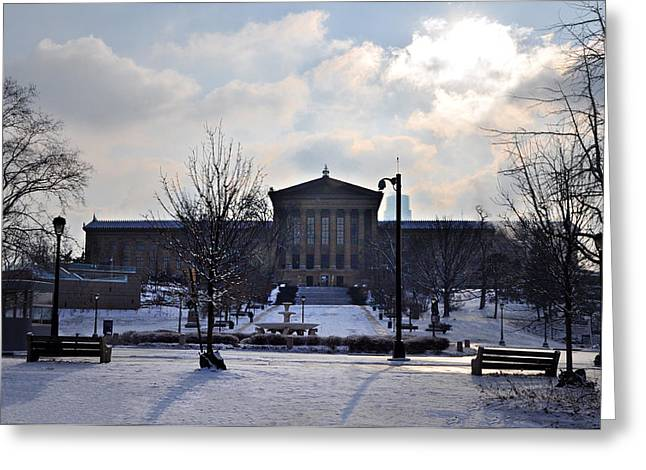 Phillies Art Digital Art Greeting Cards - The Art Museum in the Snow Greeting Card by Bill Cannon