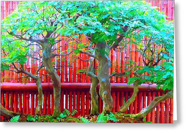 Bamboo Fence Greeting Cards - The Art of Bonsai Greeting Card by Ann Johndro-Collins