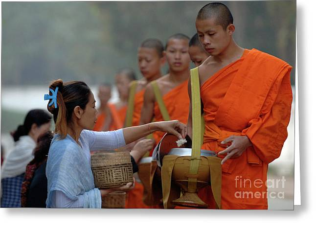 Buddhist Monk Greeting Cards - The Art Of Giving Greeting Card by Bob Christopher