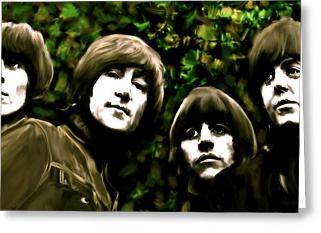 The Beatles Greeting Cards - The Art of Sound  The Beatles Greeting Card by Iconic Images Art Gallery David Pucciarelli