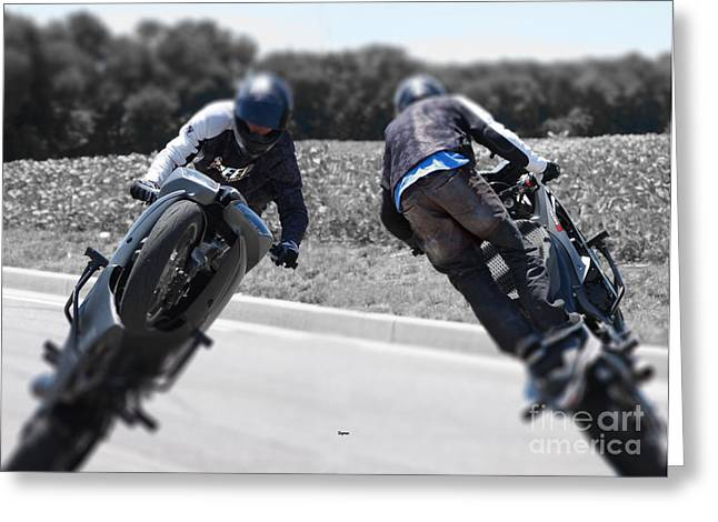 Wheelie Greeting Cards - The Art of the Iron Horse  Greeting Card by Steven  Digman