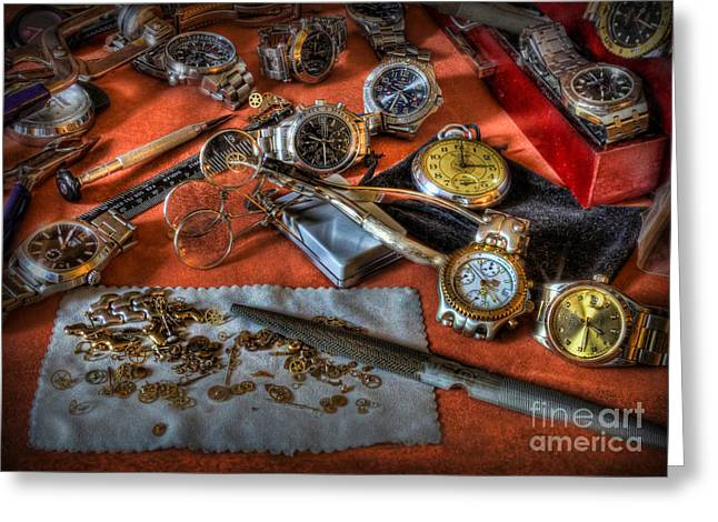 The Art Of The Timepiece - Watchmaker  Greeting Card by Lee Dos Santos