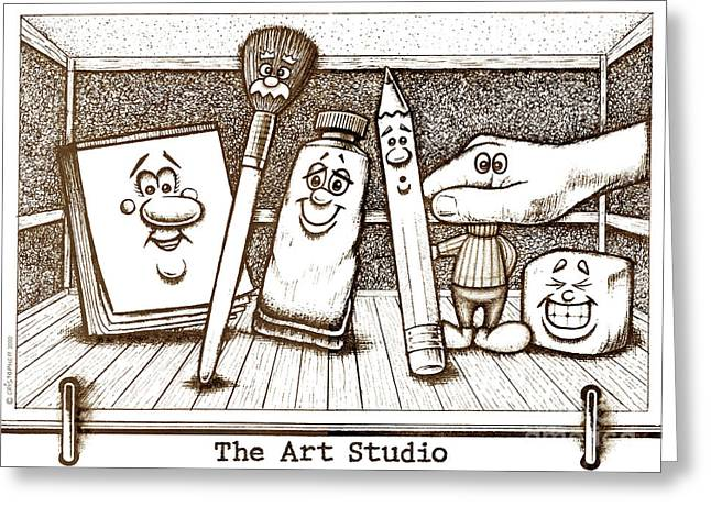 Pen And Paper Drawings Greeting Cards - The Art Studio Greeting Card by Cristophers Dream Artistry