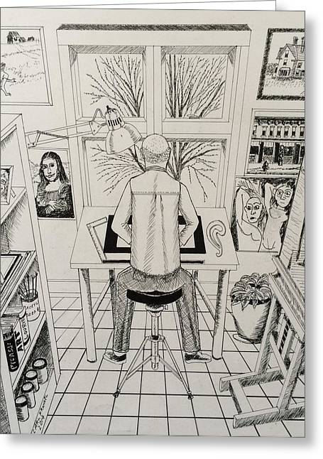 Sit-ins Drawings Greeting Cards - The Artist At His Drawing Table Greeting Card by Carl Frankel