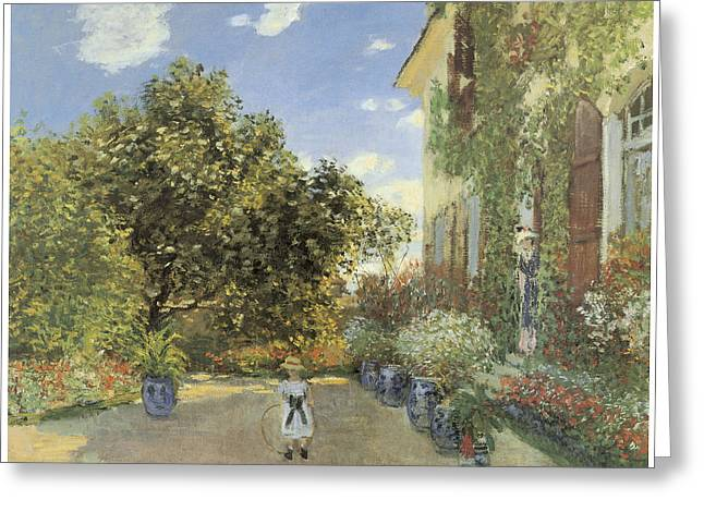 Summer Scene Greeting Cards - The Artist House at Argenteuil Greeting Card by Claude Monet