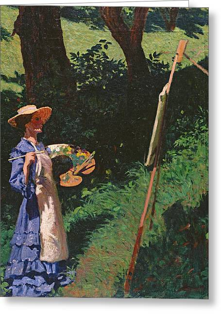 Apron Photographs Greeting Cards - The Artist Greeting Card by Karoly Ferenczy