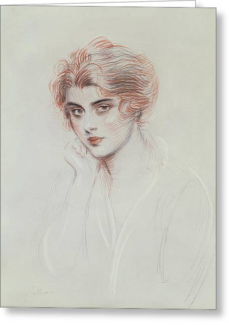 Youth Drawings Greeting Cards - The Artists Daughter Greeting Card by Paul Cesar Helleu