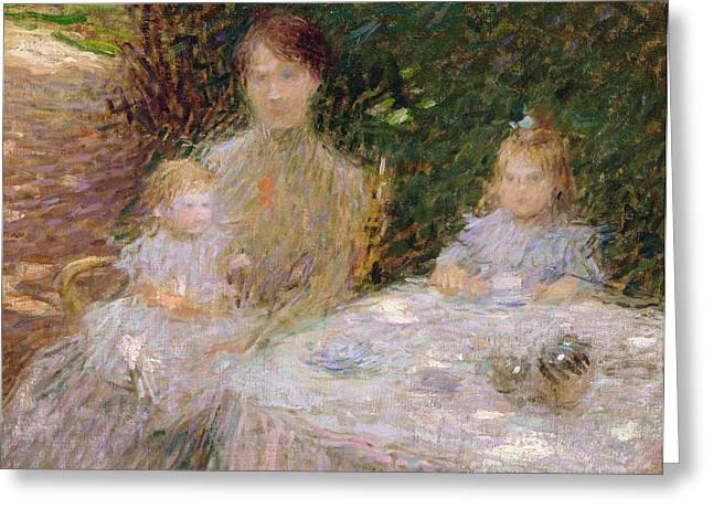 The Artist's Family In The Garden Greeting Card by Ernest-Joseph Laurent