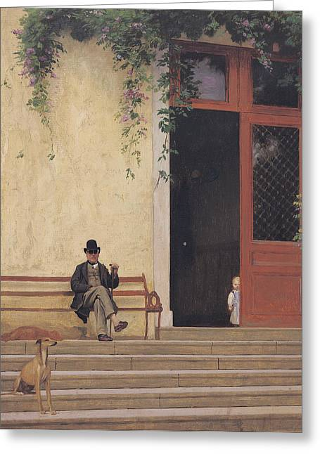 Jean Leon Gerome Greeting Cards - The Artists Father and Son on the Doorstep of his House Greeting Card by Jean Leon Gerome
