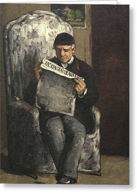 Headline Greeting Cards - The Artists Father Reading L evenement Greeting Card by Paul Cezanne