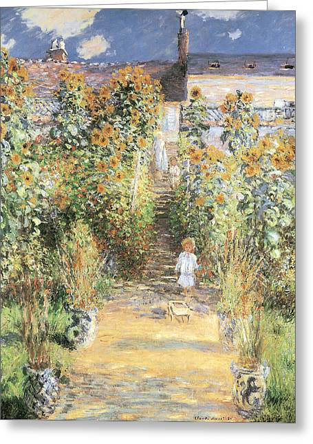 The Masters Greeting Cards - The Artists Garden at Vetheuil Greeting Card by Claude Monet