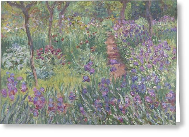 Landscape Posters Greeting Cards - The Artists Garden In Giverny Greeting Card by Claude Monet