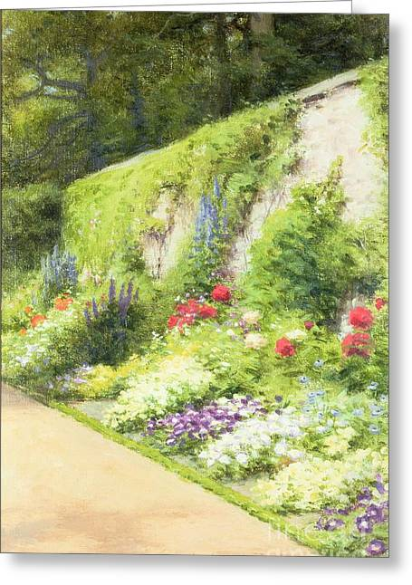 Joseph Farquharson Greeting Cards - The Artists Garden Greeting Card by Joseph Farquharson